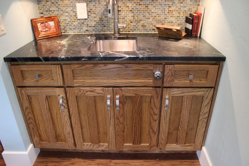 Red Oak Flat Panel Bar Base Cabinet