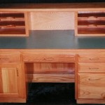 Solid Oak Executive Desk with Riser