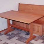 Solid Oak Bench and Trestle Table